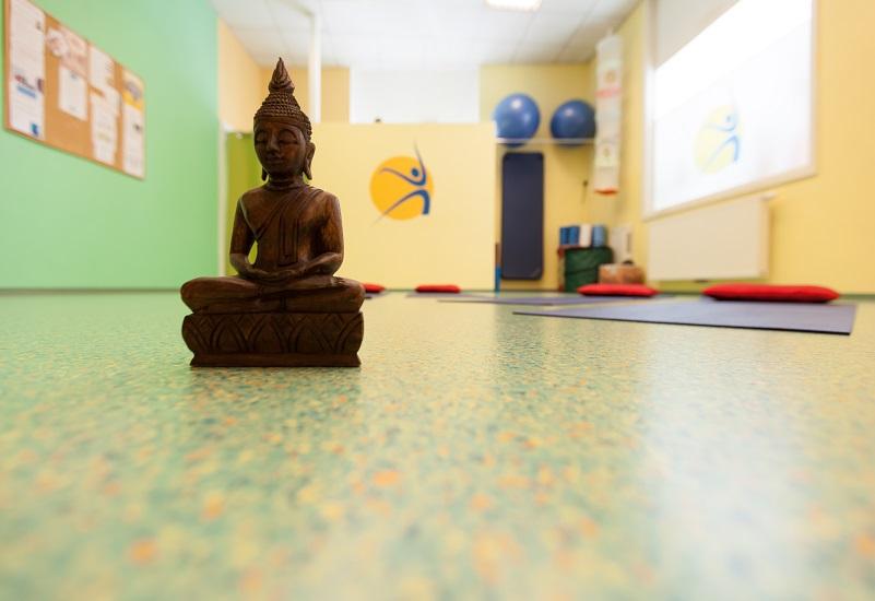 GesundheitLernen großer Trainingsraum mit Yogamatten und Buddha